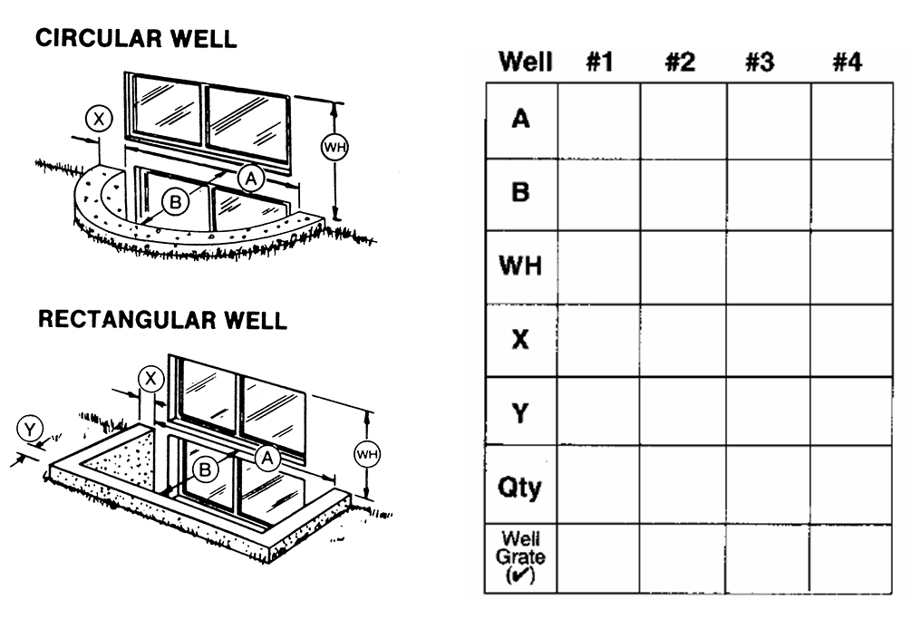 Measuring Instructions for Masonry or Wood Window Wells