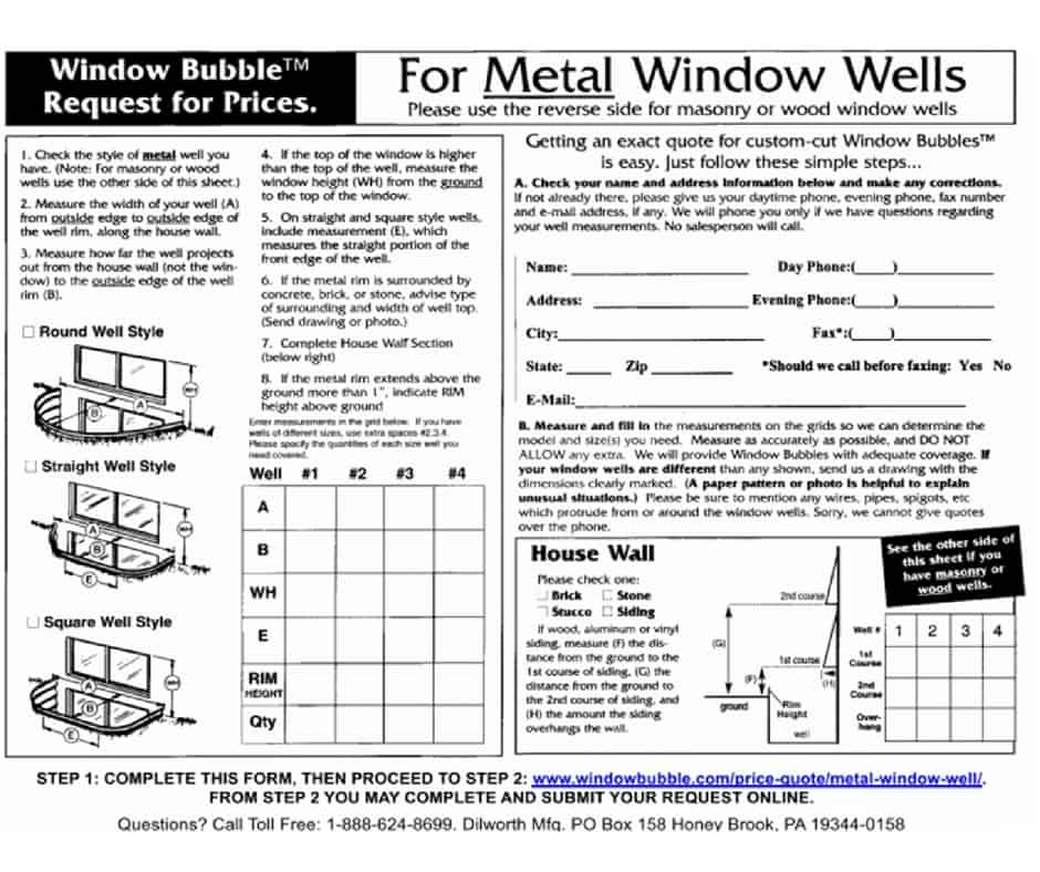 Example of Submission Form for Metal Window Wells